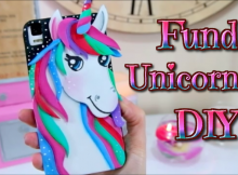 Funda de movil de unicornio kawaii en goma eva