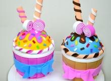 Caja con forma de cupcakes en goma eva