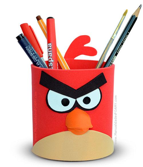 Portalápices de Angry Birds en goma eva