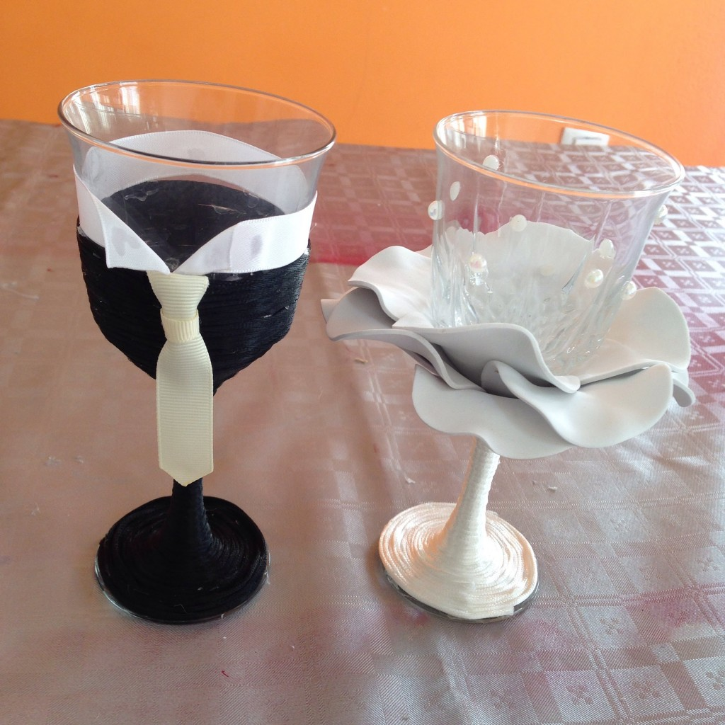 Copas de boda decorada con goma eva