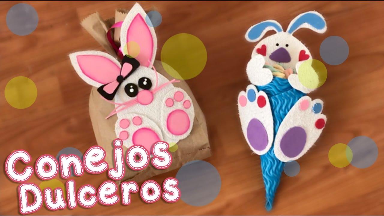 Idea de dulceros de Pascuas con conejos de goma eva