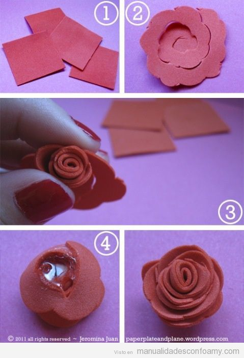 Centro de mesa con cascada de flores de goma eva rosas