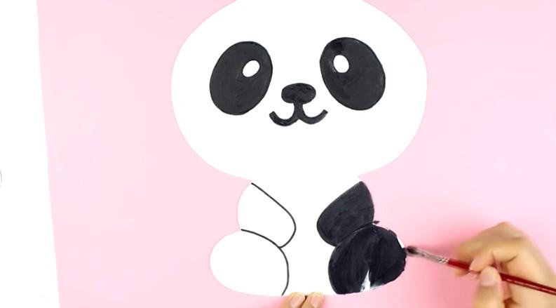 Portalapices con diseño de oso panda con goma eva 5