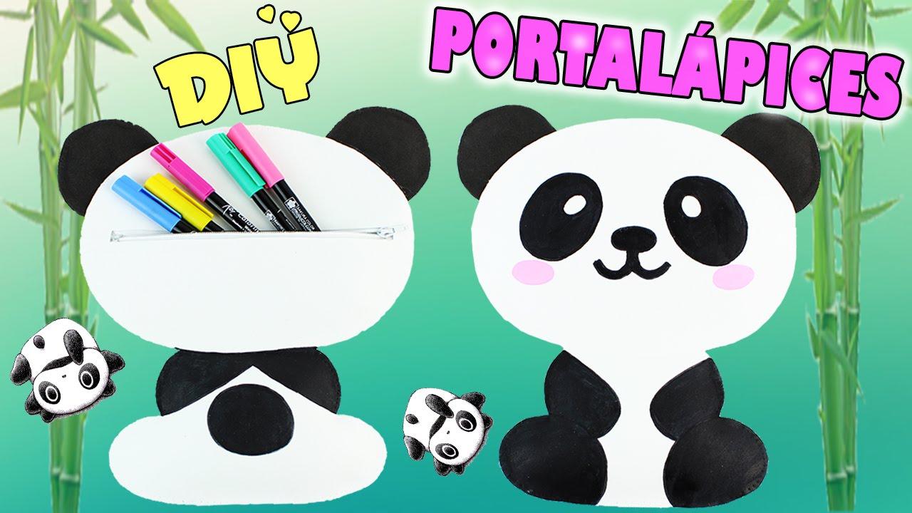 Portalapices con diseño de oso panda con goma eva